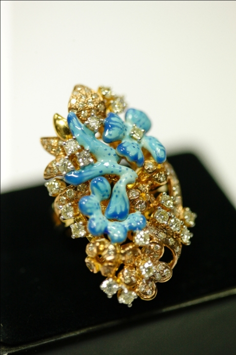 turquoise flowers in golden field- ring