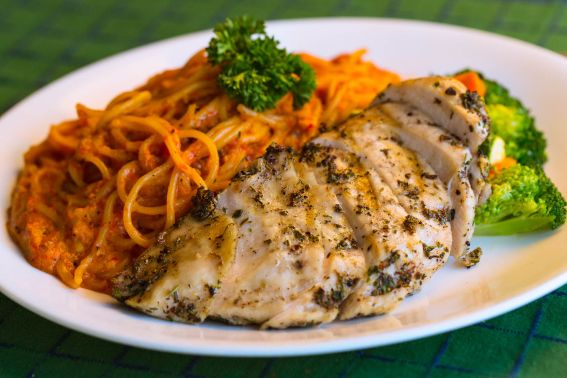 Grilled Chicken with roasted pepper & walnut pesto