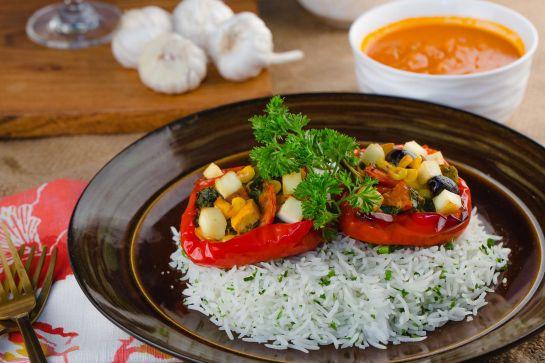 Stuffed Red Peppers w Med Veggies & Feta