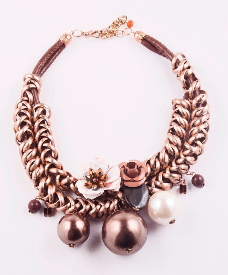 bronzey metallic chain choker neckpiece wth pearls and florals Rs.998
