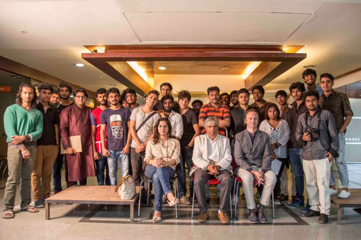 From left Avi Keshwani, Prakash Belawadi & Laurent Guichoux with students