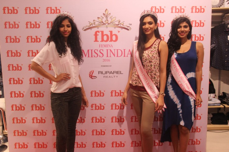 FBB Miss India Bangalore finalists (Left, Sanjana G L, second runner up, Centre Roshmitha Harimurthy, winner, right Elizbeth Thadikaran, second runner up) (2)