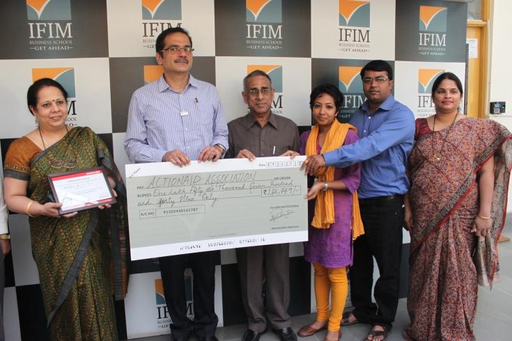 L-R - Dr.Madhumita Chatterji-Director IFIM, Mr.Sanjay Padode-Secretary CDE, Prof.M.S.Lakshmi Narayan-Director-UE, Ms.Divya Kumar & Rajesh P. from Actionaid, Ms.Surekha Shetty-Director Admissions IFIM