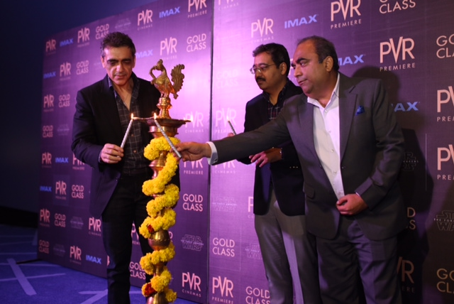 L-R Mr  Ajay Bijli Chairman  MD Mr  Gautam Dutta CEO Mr  Vijay kapoor VP inaugurating PVR IMAX at VR BengaluruWhitefield