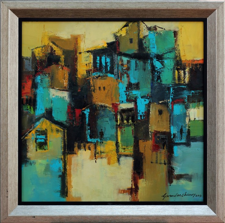 Gurudas shenoy Title- urbanscape, medium- oil on canvas, size- 20inch x 20inch,
