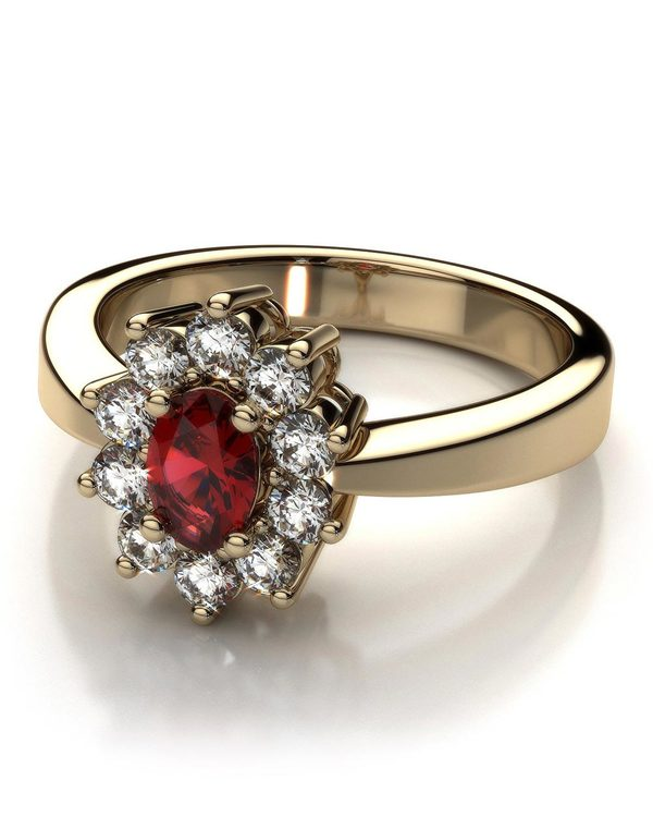 RED RUBY DECKED GOLD PLATED RING WITH  SWAROVSKI EMBELLISHMENTS BY VOYLLA @2669