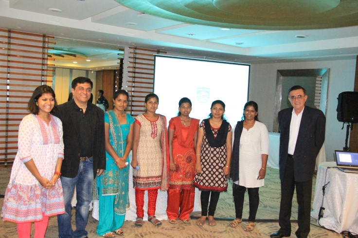 Srinivas Prasad CEO Philips Innovation Campus with the girls for the Skill India program