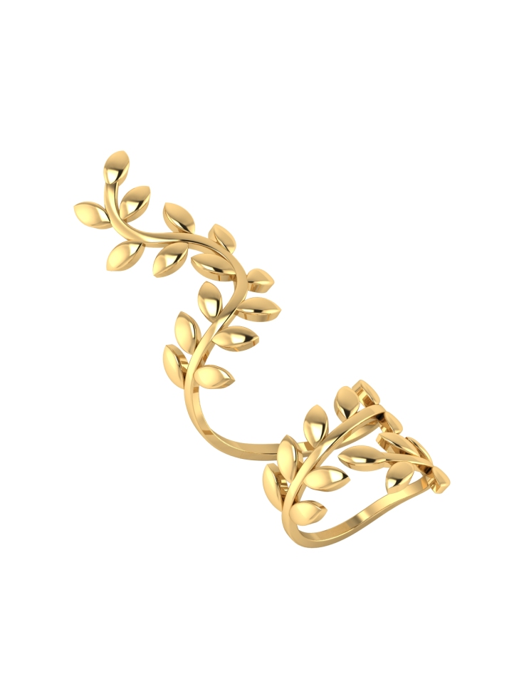 ADORABLE GOLD PLATED LEAF INSPIRED FULL FINGER RING BY VOYLLA @359
