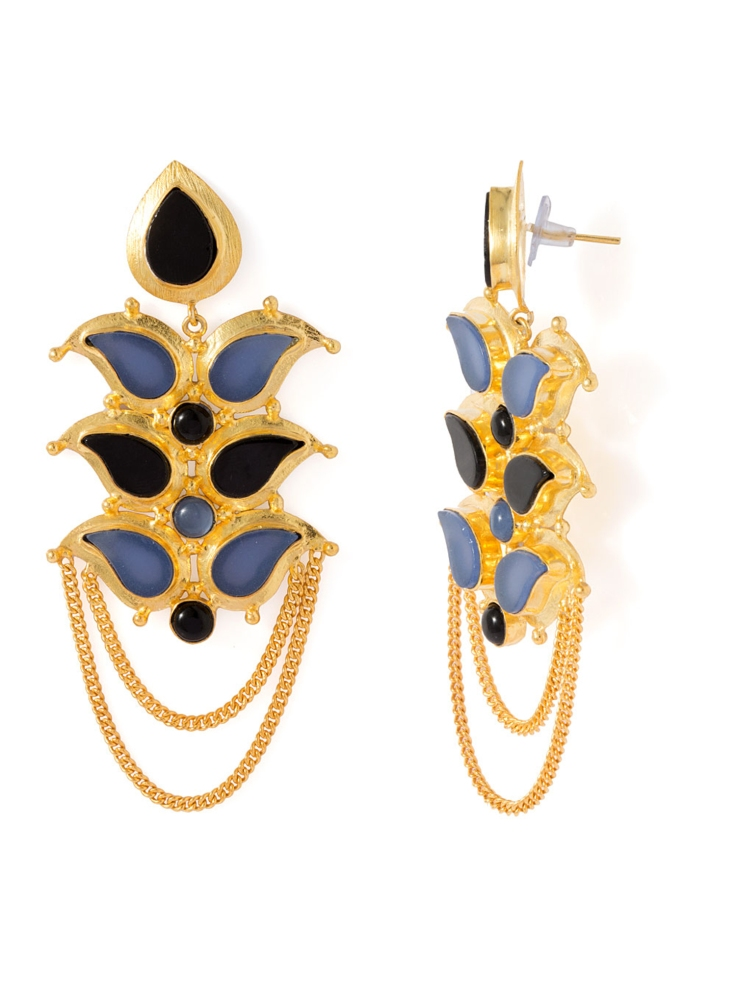 BLUE CHALCY AND BLACK ONYX STONES EMBELLISHED EARRINGS BY VOYLLA @2,767