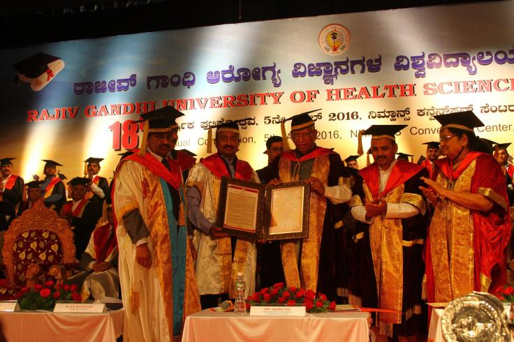 Dr. Vivek Jawali being conferred with Honorary Doctorate by the Governor of Karnataka