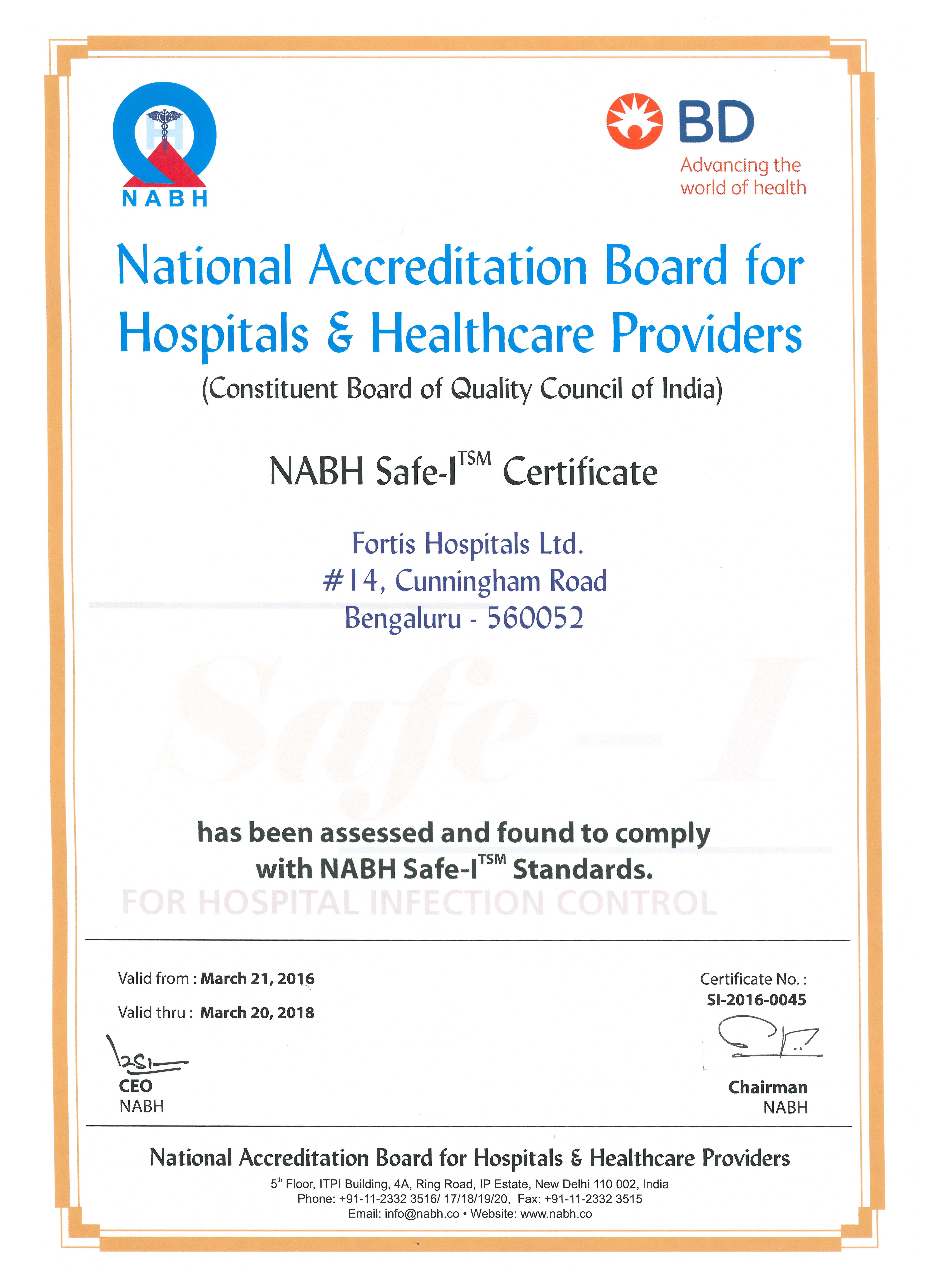 Fortis Hospitals Cunningham Road Bags Nabh Safe I Certification