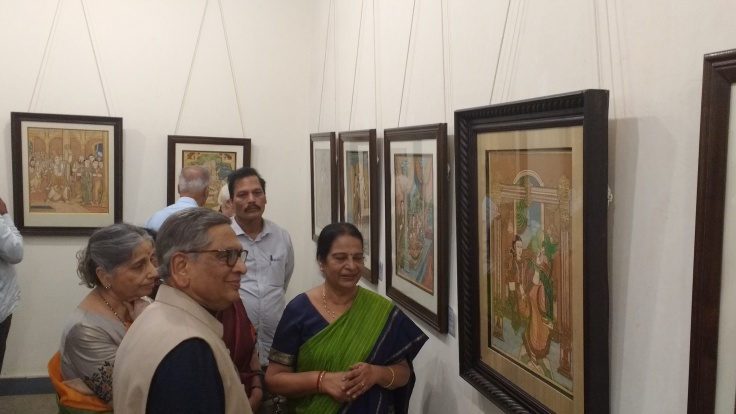 Former External Affairs Minister SM Krishna and Mrs Prema Krishna at Mysore art exhibition hosted by Mrs Prabha Mallesh