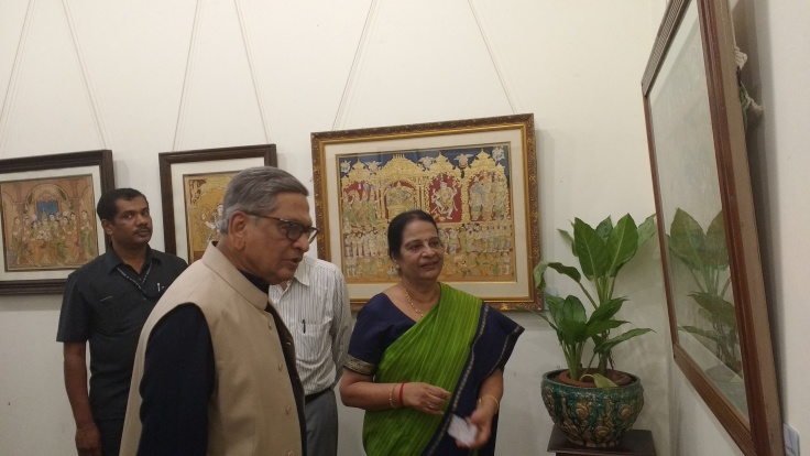 Former External Affairs Minister SM Krishna at Mysore art exhibition hosted by Mrs Prabha Mallesh