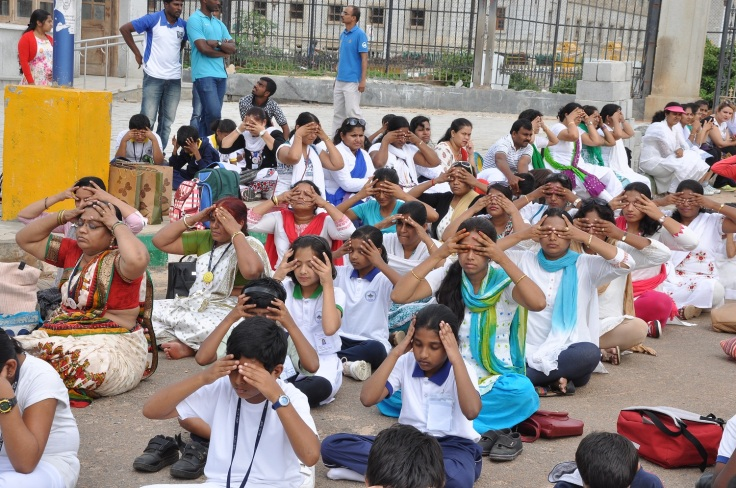 Mount Litera Zee Schools' students practising yoga at the Walkathon in Bangalore