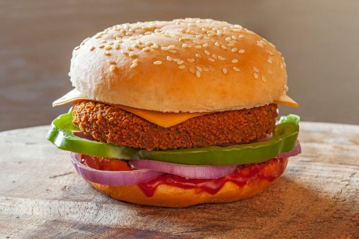 Haryali Chicken Cheese Burst Burger
