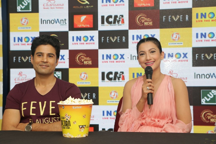 L to R Actor Rajeev Khandelwal and Gauhar Khan at Inox for the promotion of Fever